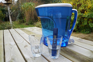 ZeroWater water filter jug standing on outside wooden table
