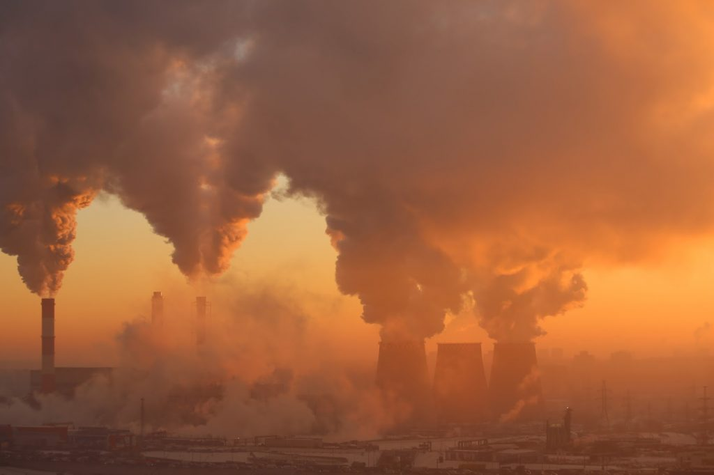 air polution smoke coming from factories chimneys