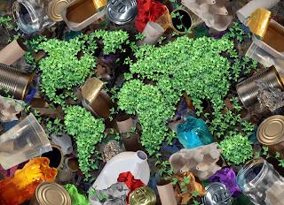 Plastic bottles floating around the earth masses