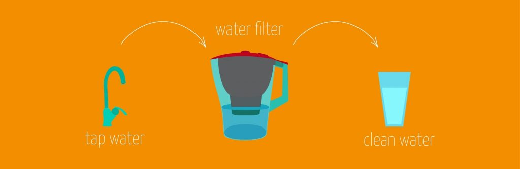 tap water into water filter jug then into glass for drinking