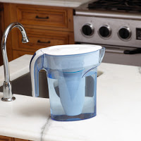 zerowater water filter jug on a table in the kitchen