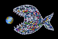 a plastic bottle shark eating planet Earth