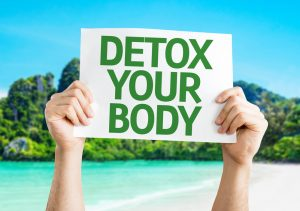 Water infused with fruits and vegetables - Detox your body sign