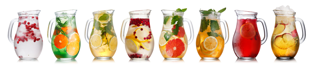 Water infused with fruits and vegetables