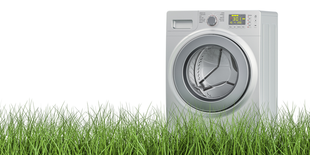 Modern Washing machine with reduced water consumption. Water lifestyle choice reducing your water foot print.