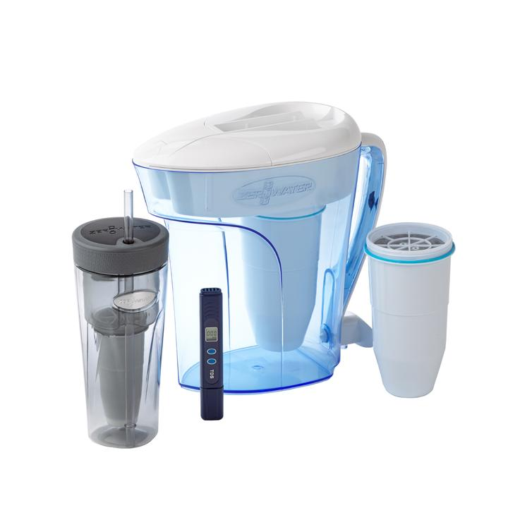 a ZeroWater Jug, replacement water filter and bottle