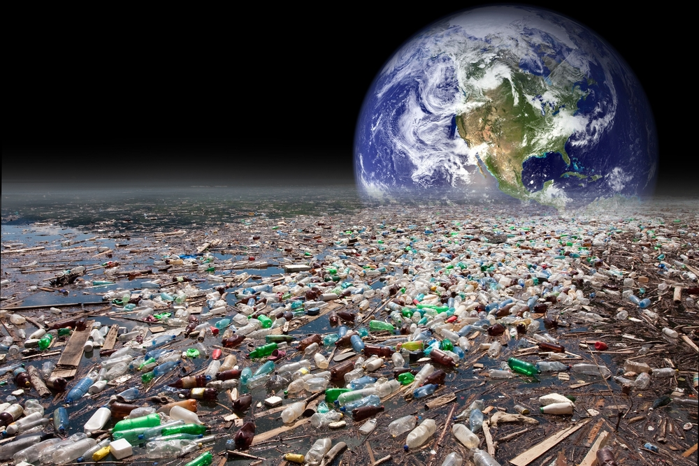 Your water choices matter! - Use less single use plastic bottles - Image showing earth sinking in heavy water pollution with tons of plastic containers