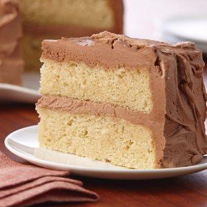 Dairy and gluten free vanilla cake, with chocolate sugar icing!