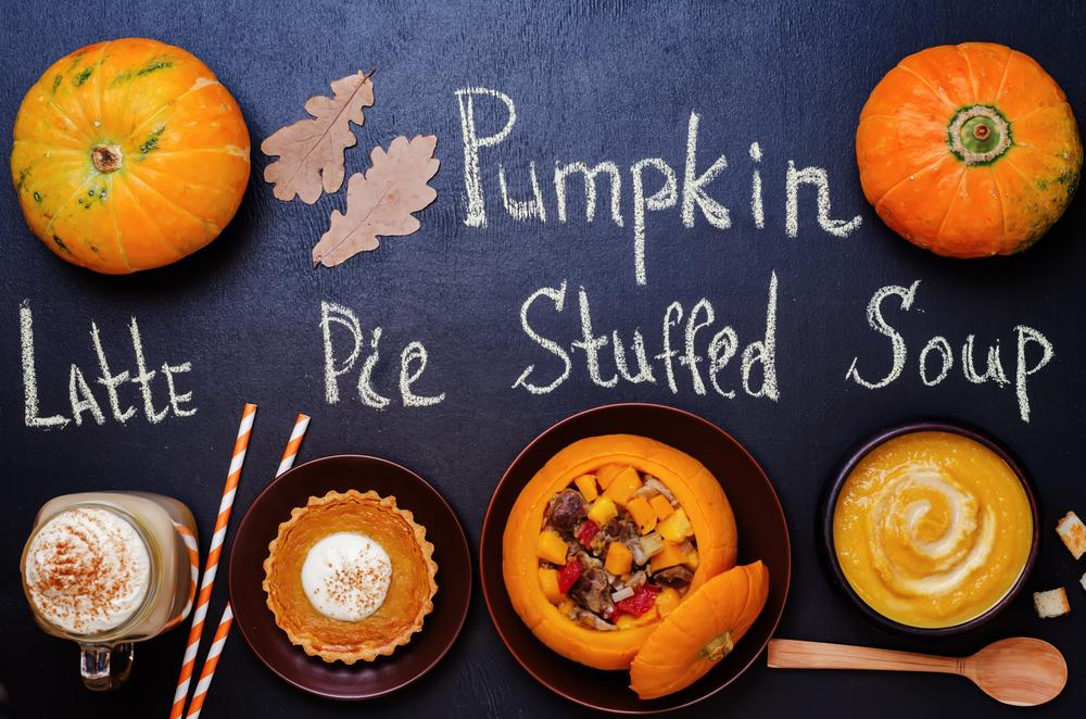 Water based recipes - Pumpkin Latte, pumpkin stuffed with meat and vegetables, pumpkin tartlet, pumpkin soup, pumpkin puree ...