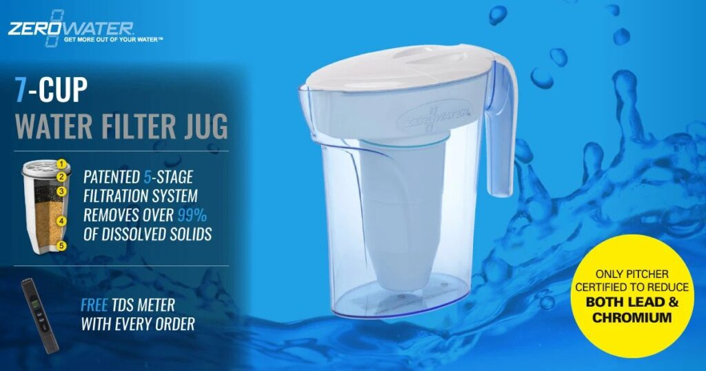 The 7 cup water filter jug by ZeroWater Reduces 92% of all Mercury found in your tap water.