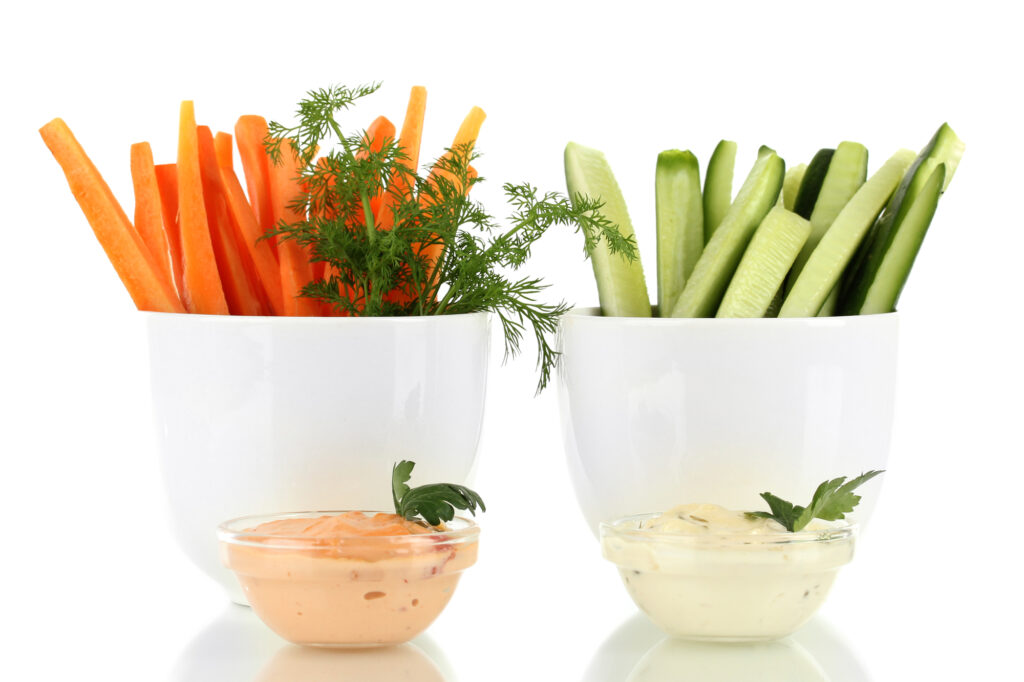 Succulent Snacks - Healthy raw vegetables sticks and dips